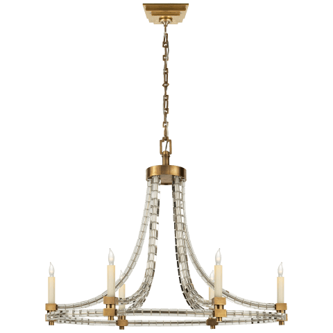 Crystal Cube Oval Flatline Chandelier in Polished Nickel