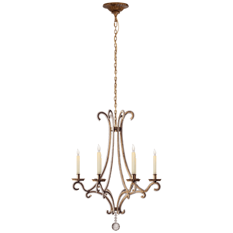 Oslo Small Chandelier in Gilded Iron with Crystal