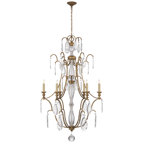 Penhurst Medium Chandelier in Gilded Iron with Clear Glass