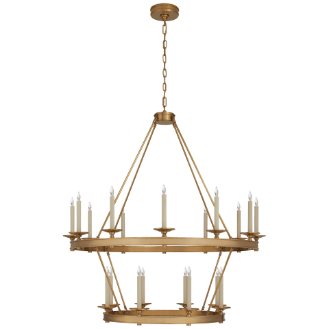 Launceton Large Two Tiered Chandelier in Antique-Burnished Brass