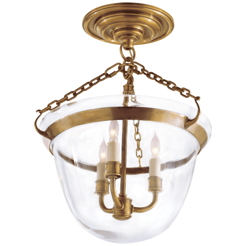 Country Semi-Flush Bell Jar Lantern in Antique-Burnished Brass