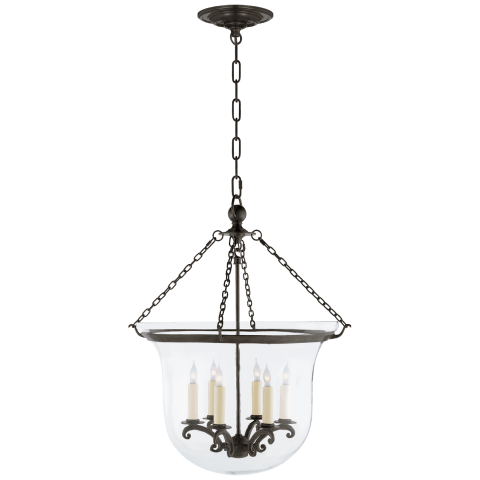 Country Large Bell Jar Lantern in Bronze