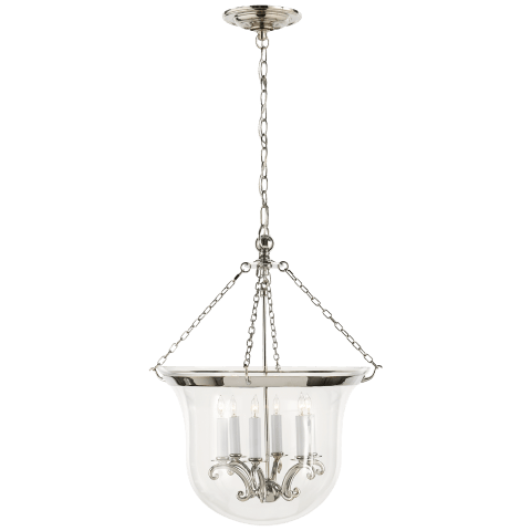 Country Large Bell Jar Lantern in Polished Nickel