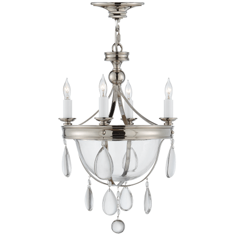 Devon Mini Glass Bowl Chandelier in Polished Nickel with Clear Glass