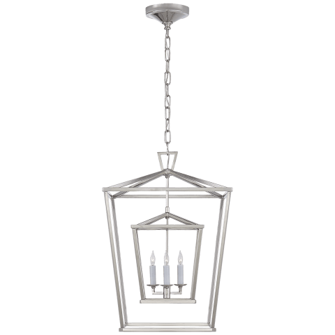 Darlana Medium Double Cage Lantern in Polished Nickel