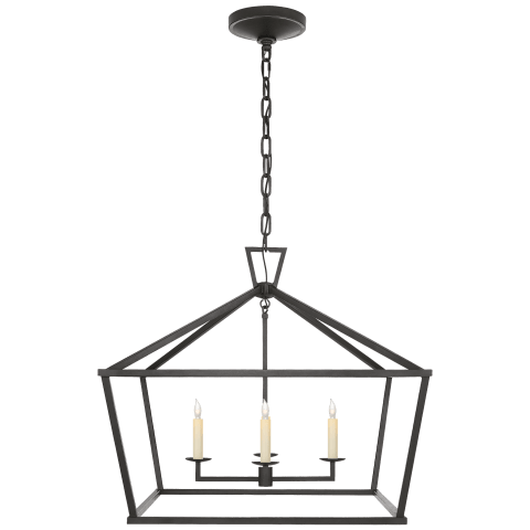Darlana Medium Wide Lantern in Aged Iron