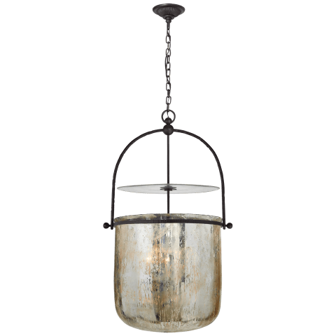 Lorford Smoke Bell Lantern in Aged Iron with Mercury Glass