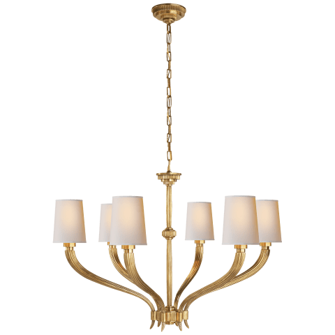 Ruhlmann Large Chandelier in Antique-Burnished Brass with Natural Paper Shades