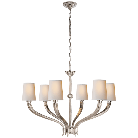 Ruhlmann Large Chandelier in Polished Nickel with Natural Paper Shades