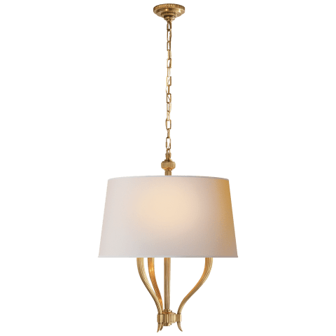 Ruhlmann Hanging Shade in Antique-Burnished Brass with Natural Paper Shade