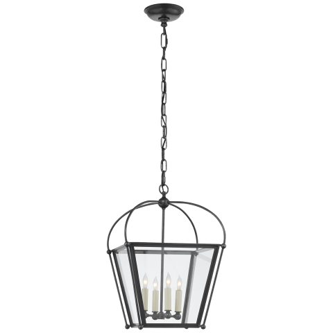Plantation Small Square Lantern in Bronze with Clear Glass