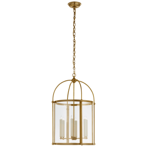 Plantation Medium Round Lantern in Antique-Burnished Brass with Clear Glass