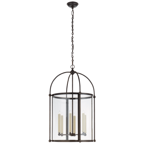 Plantation Large Round Lantern in Bronze with Clear Glass
