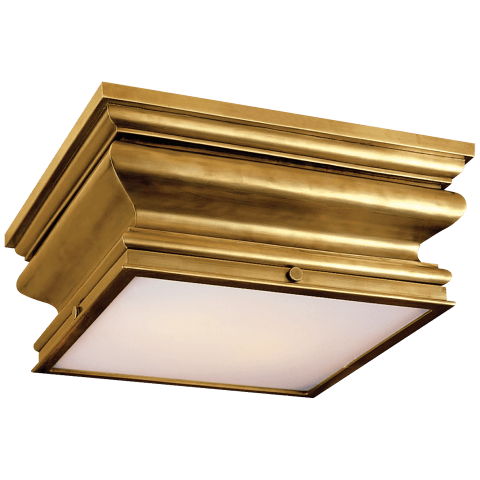 Square Flush Mount in Antique-Burnished Brass with Frosted Glass