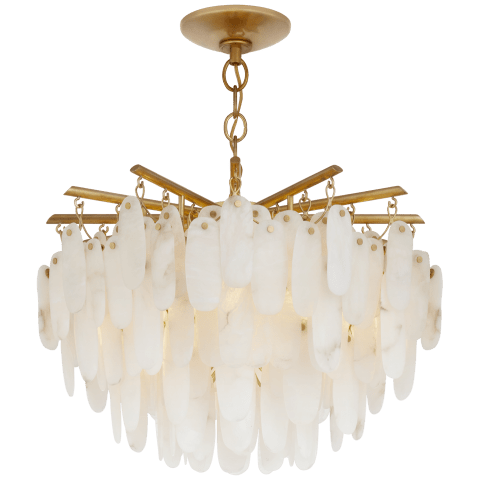 Cora Large Semi-Flush Mount Chandelier in Antique-Burnished Brass with Alabaster