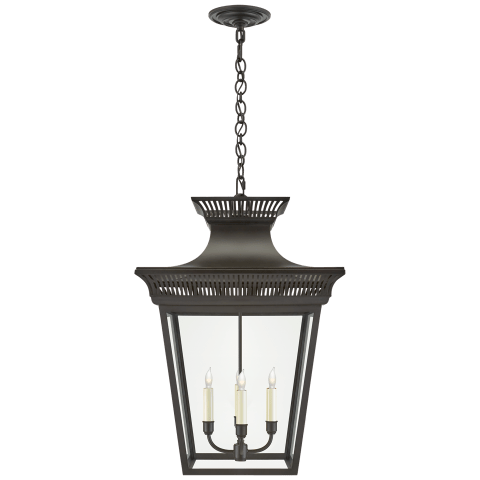 Elsinore Large Hanging Lantern in Black with Clear Glass