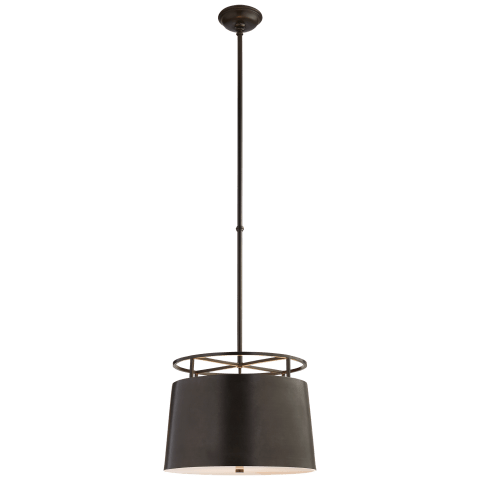 Bryden Medium Round Pendant in Aged Iron