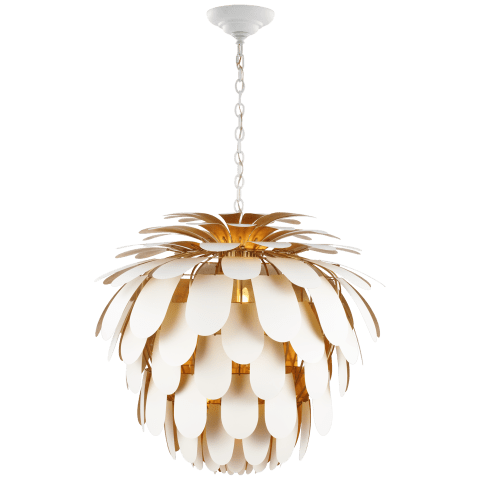 Cynara Grande Chandelier in White and Gild