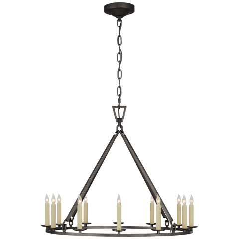Darlana Medium Single Ring Chandelier in Aged Iron