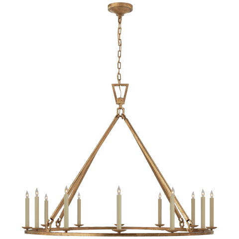 Darlana Extra Large Single Ring Chandelier in Gilded Iron