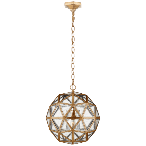 Zeno Medium 80 Facet Hedron Lantern in Gilded Iron with Antique Mirror