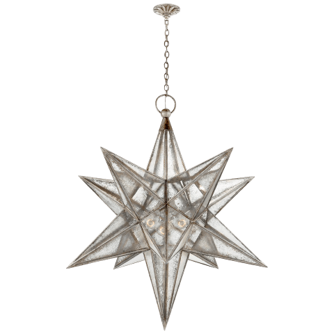 Moravian XL Star Lantern in Aged Iron with Antique Mirror