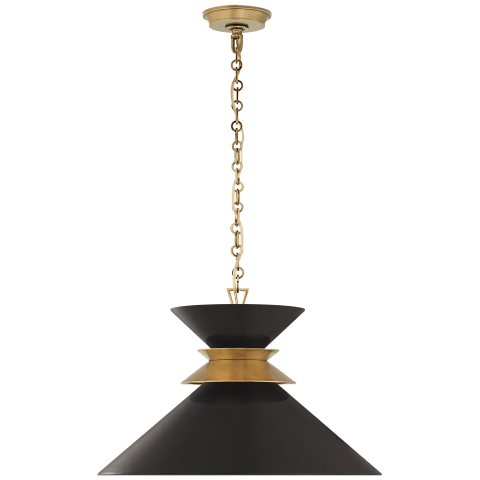 Alborg Large Stacked Pendant in Antique- Burnished Brass with Matte Black Shade