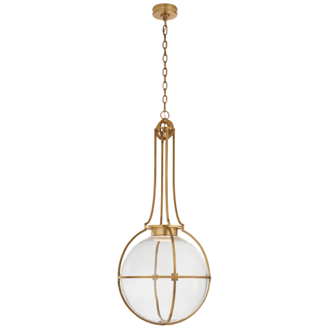Gracie Large Captured Globe Pendant in Antique-Burnished Brass with Clear Glass