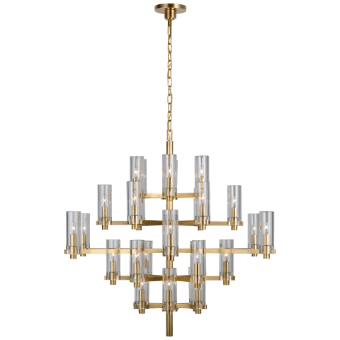 Sonnet Large Chandelier in Antique-Burnished Brass with Clear Glass