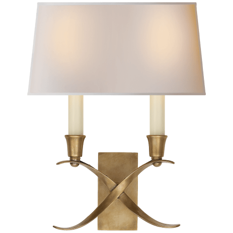 Cross Bouillotte Small Sconce in Antique-Burnished Brass with Natural Paper Shade