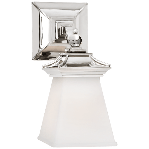 Chinoiserie Single Light in Polished Nickel with White Glass