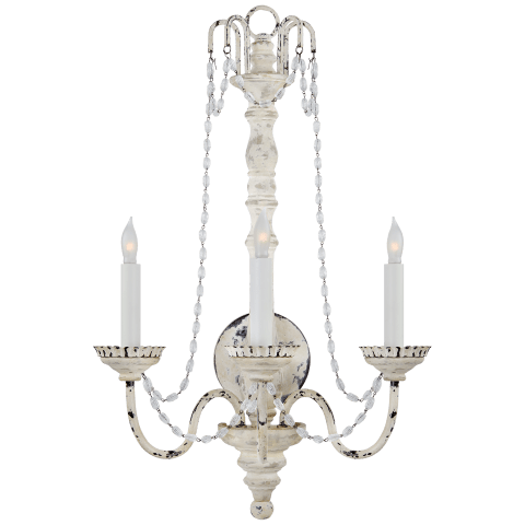 Flanders Large Sconce in Belgian White with Seeded Glass Trim