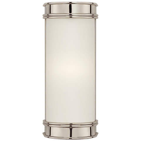 """Oxford 8"""" Bath Sconce in Polished Nickel with Frosted Glass"""