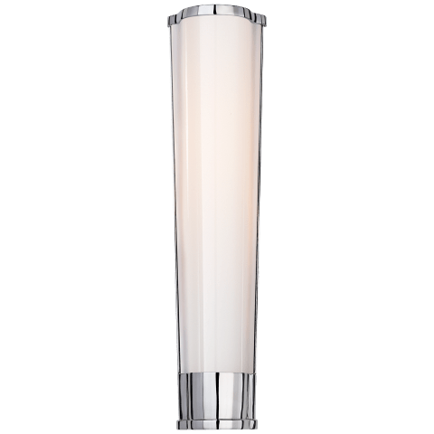 Carew Medium Sconce in Polished Nickel with White Glass