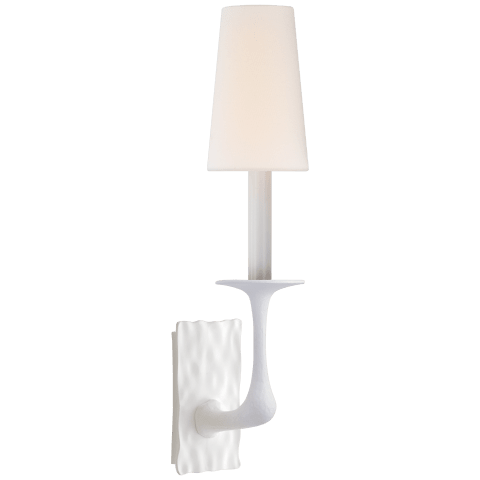 Gabriel Single Sconce in Plaster White with Linen Shade