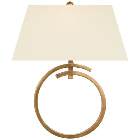 Launceton Large Ring Sconce in Antique- Burnished Brass with Natural Percale Shade