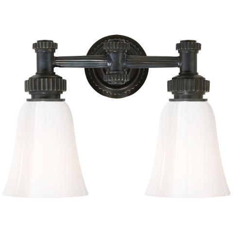 Ruhlmann Double Bath Sconce in Bronze with White Glass