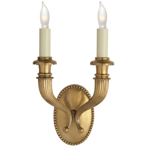 Fluted Horn Double Sconce in Antique-Burnished Brass