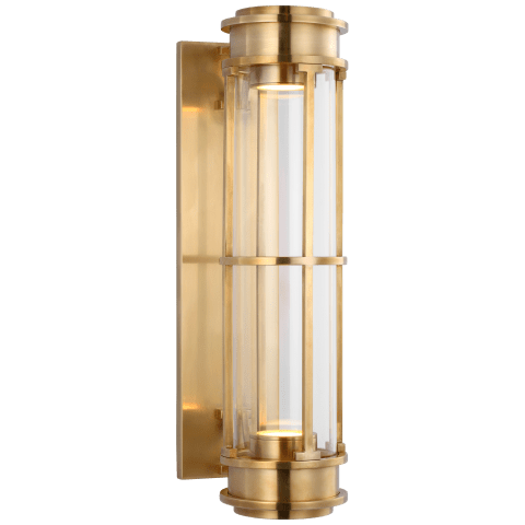 "Gracie 19"" Linear Sconce in Antique-Burnished Brass with Clear Glass"