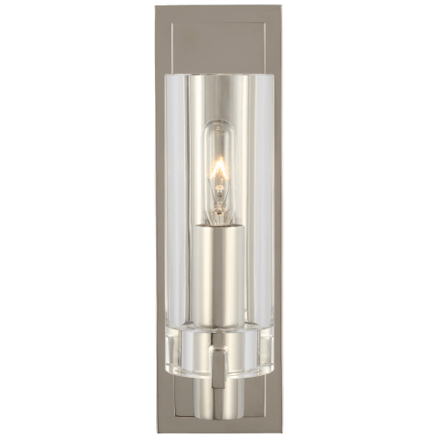 Sonnet Petite Single Sconce in Polished Nickel with Clear Glass