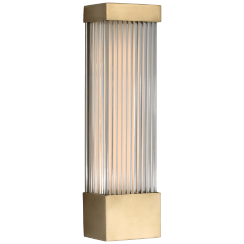 """Vance 13"""" Sconce in Antique-Burnished Brass with Clear Glass Rods"""
