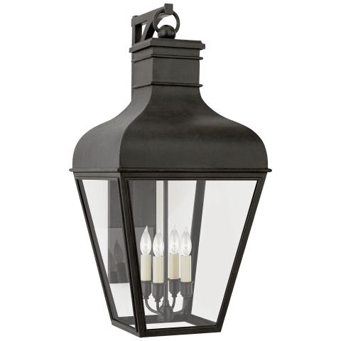 Fremont Medium Bracketed Wall Lantern in French Rust with Clear Glass