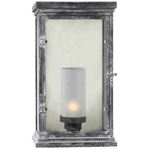 Somerset Large Modern Lantern in Weathered Zinc