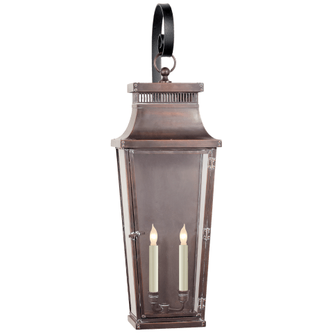 Emsworth Scroll Arm Lantern in Natural Copper with Clear Glass