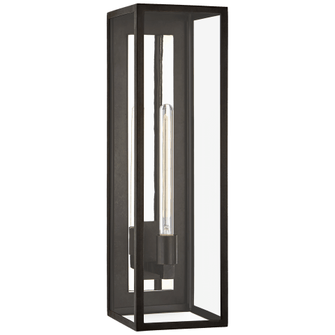 Fresno Grande 3/4 Wall Lantern in Aged Iron with Clear Glass