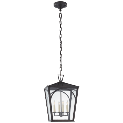 Darlana Arc Medium Lantern in Bronze with Clear Glass