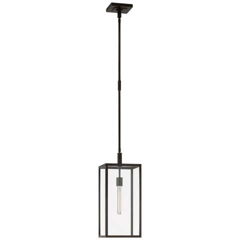 Fresno Medium Hanging Lantern in Aged Iron with Clear Glass