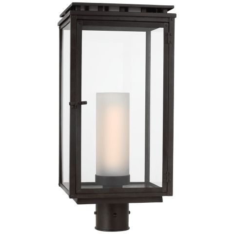 Cheshire Post Light in Aged Iron with Clear Glass