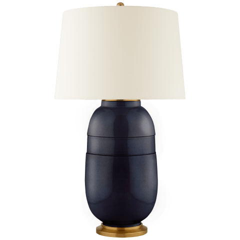 Newcomb Large Table Lamp in Mixed Blue Brown with Natural Percale Shade