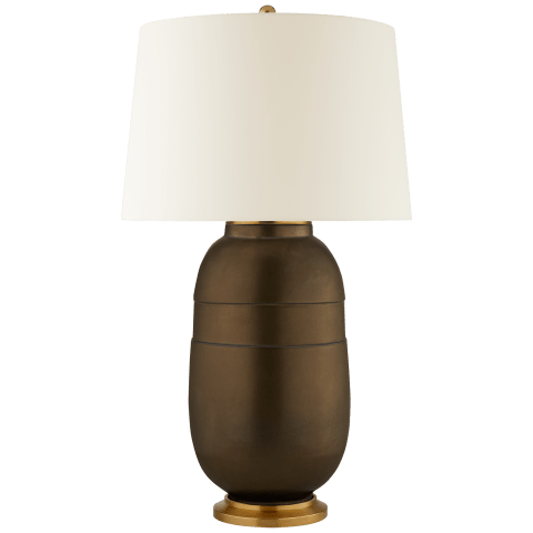 Newcomb Large Table Lamp in Matte Bronze with Natural Percale Shade